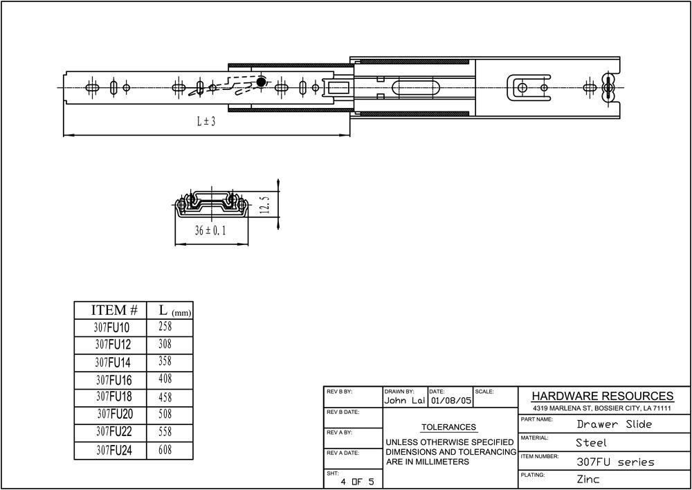 Hardware Resources Shop 307fu12 Drawer Slides Zinc