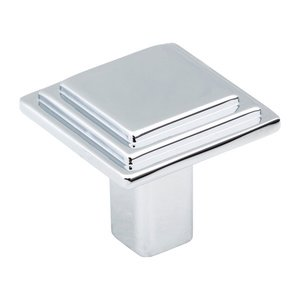 "Elements by Hardware Resources - Calloway Collection - 1 1/8"" Overall Length Stepped Square Cabinet Knob in Polished Chrome"