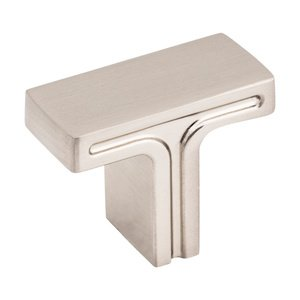 "Jeffrey Alexander - Anwick Cabinet Hardware - 1 3/8"" Overall Length Rectangle Cabinet Knob in Satin Nickel"