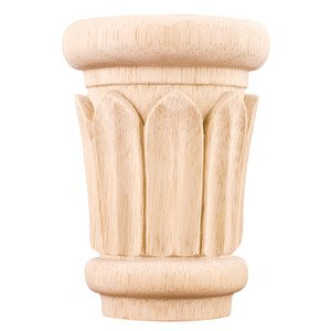 "Hardware Resources - Capitals - 4 3/8"" Reed Traditional Capital in Rubberwood Wood"