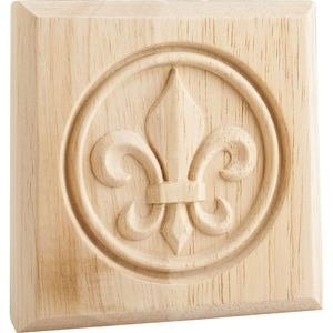"Hardware Resources - 4"" x 4"" x 7/8"" Fleur de Lis Rosette in Rubberwood Wood"