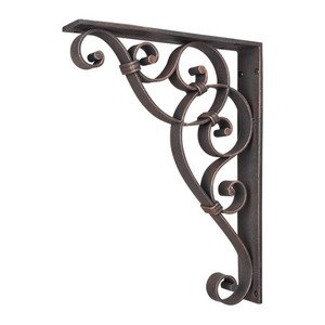 "Hardware Resources - 1 7/8"" x 13 1/2"" x 10"" Metal (Iron) Scrolled Bar Bracket with Knot Detail in Brushed Oil Rubbed Bronze"