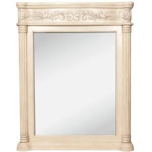 "Jeffrey Alexander by Hardware Resources - Antique Ornate - 33 11/16"" x 42"" Mirror in Antique White with Hand Carved Details and Beveled Glass"