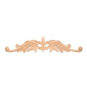 "Hardware Resources - 4 3/16"" Fleur-De-Lis Traditional Onlay in Hard Maple Wood"