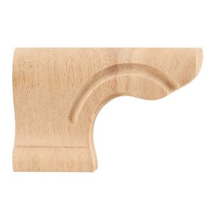 "Hardware Resources - 6"" x 4"" x 1 1/8"" Traditional Pedestal Foot (Left) in Rubberwood Wood"
