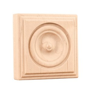 "Hardware Resources - Mouldings - 3"" Traditional Rosette in Oak Wood"