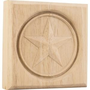 "Hardware Resources - 3 1/2"" x 3 1/2"" x 7/8"" Star Rosette in Rubberwood Wood"