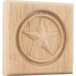 "Hardware Resources - 4"" x 4"" x 7/8"" Star Rosette in Rubberwood Wood"
