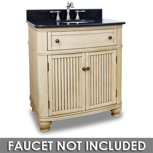 "Elements by Hardware Resources - Compton - 32"" Bathroom Vanity in Buttercream with Black Granite Top and Bowl"