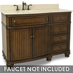 "Elements by Hardware Resources - Compton - 48"" Single Vanity with Preassembled Top and Bowl in Painted Walnut with Brown/Tan Top"