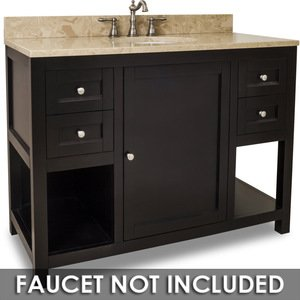 "Jeffrey Alexander - Large Bathroom Vanities - Vanity 48"" x 22"" x 36"" in Espresso with Brown/Tan Top"
