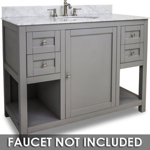 "Jeffrey Alexander by Hardware Resources - Astoria Modern - Vanity 48"" x 22"" x 36"" in Grey with White Top"