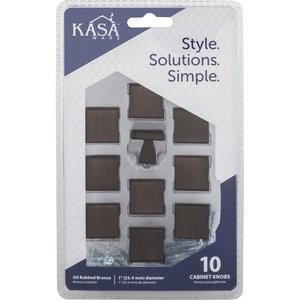 "Kasaware - Decorative Knobs - (10pc Pack) 1"" Diameter Cabinet Knob in Brushed Oil Rubbed Bronze"