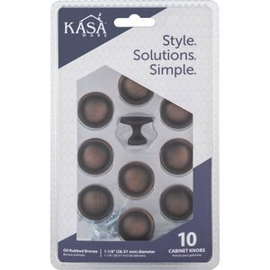 "Kasaware - Decorative Knobs - (4pc Pack) 1 1/8"" Diameter Cabinet Knob in Brushed Oil Rubbed Bronze"
