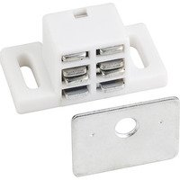 Hardware Resources - Shutter Hardware - 25# Magnetic Catch White/zinc with Strike & Screws in White