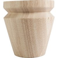 "Hardware Resources - Wooden Legs and Feet - 4"" Round x 4"" Tall Tapered Bun Foot with ""V"" Groove in Hard Maple Wood"