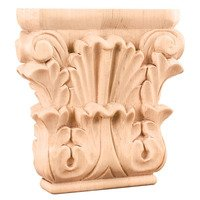"Hardware Resources - Capitals - 4 3/4"" Acanthus Traditional Capital in Alder Wood"