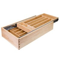 "Hardware Resources - Drawer Organizers - Nested Cutlery Drawer 17-1/2"" W x 21"" D x 4-3/16"" H in Wood"