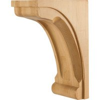 "Hardware Resources - Base Cabinet Organizers - 5"" x 8"" x 12"" Modern Corbel with Scooped Center and Edges in Hard Maple Wood"