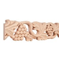 "Hardware Resources - Mouldings - 4"" Grape Traditional Hand Carved Mouldings in Basswood Wood (8 Linear Feet)"