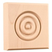 "Hardware Resources - Mouldings - 4"" Traditional Rosette in Hard Maple Wood"