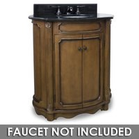 "Elements Hardware - Small Bathroom Vanities - 30 1/2"" Bathroom Vanity in Walnut with Black Granite Top and Bowl"
