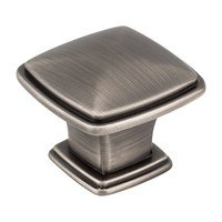 "Hardware Resources - Jeffrey Alexander Milan Cabinet Hardware - 1 3/16"" Plain Square Knob in Brushed Pewter"