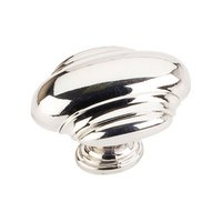 "Hardware Resources - Jeffrey Alexander Amsden Cabinet Hardware - 1 5/8"" Oblong Knob in Polished Nickel"