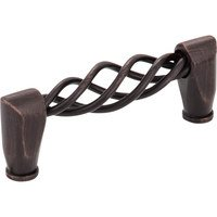 "Hardware Resources - Jeffrey Alexander Zurich Cabinet Hardware - 3"" Centers Twisted Iron Pull in Brushed Oil Rubbed Bronze"